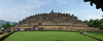 People visit the Borobudur temple in Jogja, Indonesia.  Stock Images