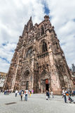 People visit Cathedral of Our Lady in Strasbourg Royalty Free Stock Photography