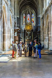 People visit the catholic church of Saint Merri in Paris Stock Image
