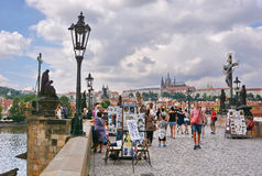 People visit the Charles Bridge in Prague Royalty Free Stock Images