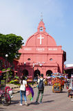 People visit the Christ church in Melaka, Malaysia Stock Photography