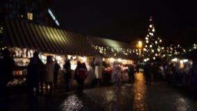 People visit Christmas Fair stock video footage