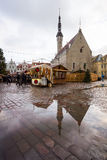 People visit Christmas Fair in old town Royalty Free Stock Image