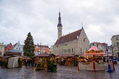People visit Christmas Fair in old town Stock Photography