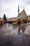 People visit Christmas Fair in old town Stock Images