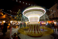 People visit Christmas Fair in old town Royalty Free Stock Images