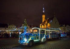 People visit Christmas Fair in old town Stock Photos