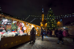 People visit Christmas Fair in old town Royalty Free Stock Photo