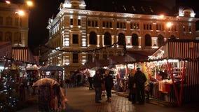 People visit Christmas Fair stock video