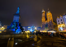 People visit Christmas market at main square in old city Stock Photography