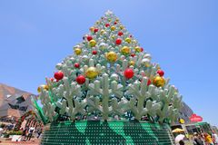 Christmas tree Federation Square cityscape Melbourne Australia royalty free stock image