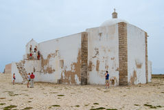 People visit church of Our Lady of Grace at Sagres point in Sagres, Portugal. Royalty Free Stock Photos