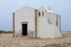 People visit church of Our Lady of Grace at Sagres point in Sagres, Portugal. Stock Photos