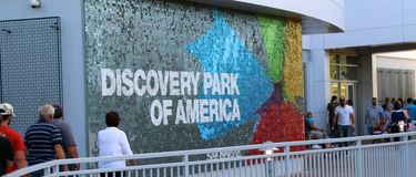 People Visit The Discovery Park Of America Royalty Free Stock Photos