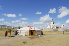 People visit Erdene Zuu monastery in Kharkhorin, Mongolia. Royalty Free Stock Images