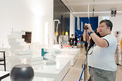 People visit the exhibition Royalty Free Stock Photo