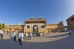 People visit the famous Amer Fort Stock Photo
