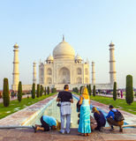 People visit the famous Taj Mahal Stock Image