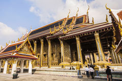 People visit famous temple Phra Sri Ratana Chedi covered with fo Royalty Free Stock Photos
