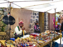 People visit the famous traditional market in Raqch Royalty Free Stock Image