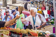 People visit farmers market in Chaillot, Paris Stock Image