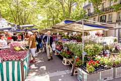People visit farmers market in Chaillot, Paris Royalty Free Stock Photo