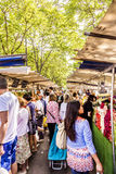 People visit farmers market in Chaillot, Paris Royalty Free Stock Images