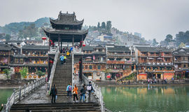 People visit Fenghuang Ancient Town in Hunan, China Stock Images