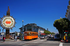 People visit  Fishermans Wharf in San Francisco Royalty Free Stock Photo