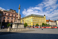 People visit Freedom Square in old city Royalty Free Stock Image