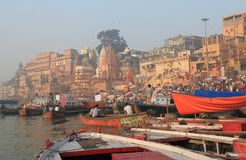 Ganges river ghat Varanasi India. People visit Ganges river ghat in Varanasi India Royalty Free Stock Photo