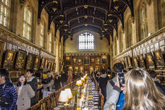 People visit the great hall of Christ Church, University of Oxfo Royalty Free Stock Image