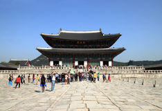 People visit Gyeongbokgung palace Royalty Free Stock Photography