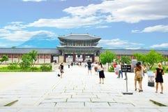 People visit Gyeongbokgung palace Royalty Free Stock Photo