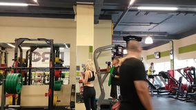 People visit the gym stock footage