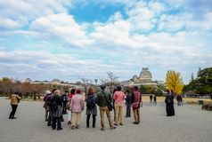 People visit the Himeji Castle stock photography