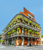 People visit historic building in the French Quarter royalty free stock image