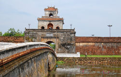 People visit Hue Citadel in Hue, Vietnam Royalty Free Stock Photography