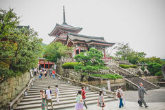 People visit the Japanese temple, in Kyoto Royalty Free Stock Photo