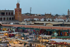 People visit the Jemaa el Fna Square Royalty Free Stock Photos