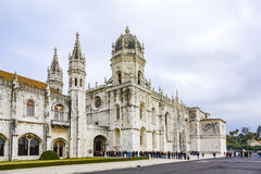 People visit the Jeronimos Monastery or Hieronymites Monastery i Royalty Free Stock Photo