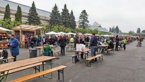 People visit Kyiv Food and Wine Festival in Kiev, Ukraine. Stock Photo