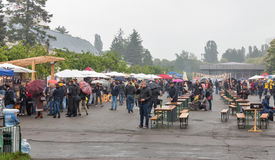 People visit Kyiv Food and Wine Festival in Kiev, Ukraine. Royalty Free Stock Photo