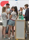 Kyiv Wine Festival by Good Wine in Ukraine. People visit Kyiv Wine Festival booth. 77 winemakers from around the world took part in the big festival organized Stock Photos