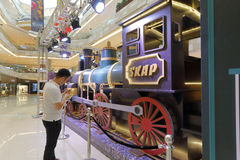 People visit the large locomotive model Stock Photo