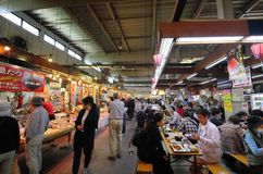 Maizuru Tore Tore center fish market Kyoto Japan. People visit Maizuru Tore Tore center fish market royalty free stock images