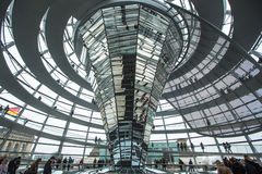 People visit the modern dome on the roof of the Reichstag Stock Image