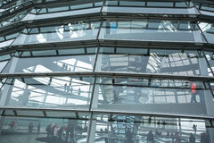 People visit the modern dome on the roof of the Reichstag. Royalty Free Stock Images