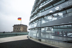 People visit the modern dome on the roof of the Reichstag. Stock Photography