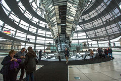 People visit the modern dome on the roof of the Reichstag. Stock Images